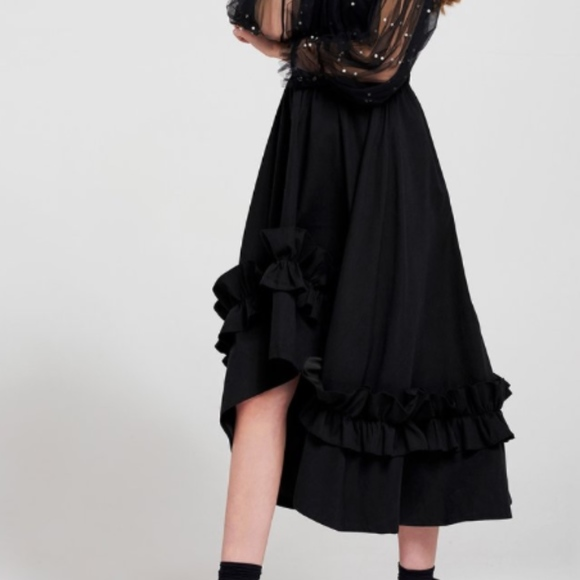 Storets Dresses & Skirts - ruffle black wide flare skirt